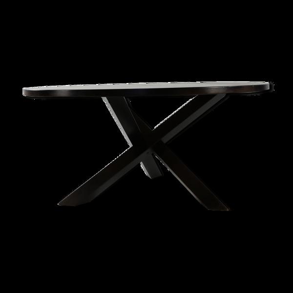Selency Table brutaliste venge à jambes croisées conçu par Martin Visser
