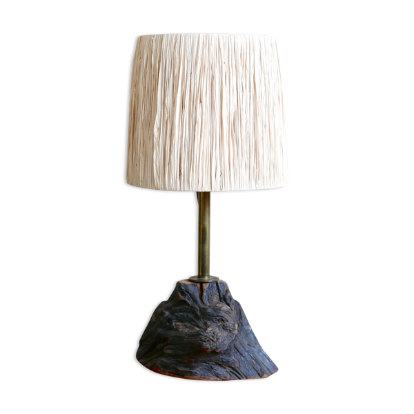Lampe en bois abat jour en raphia années 70