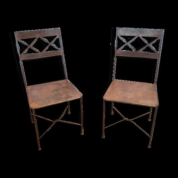 Paire de chaises marocaines en fer forgé