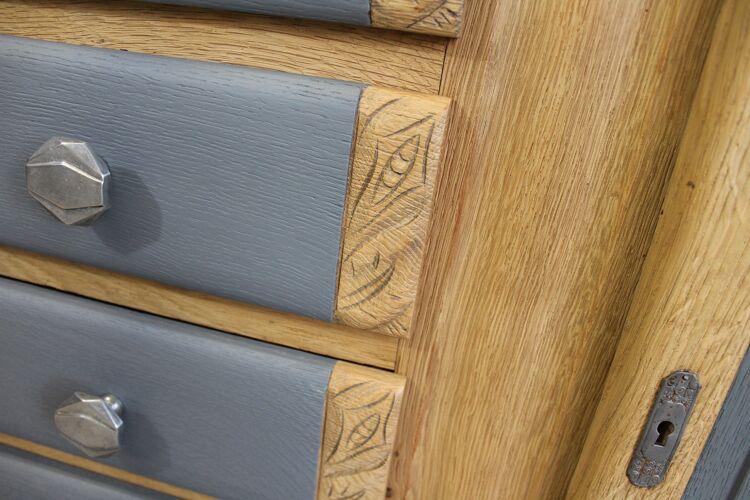 Buffet Art Déco gris et bois
