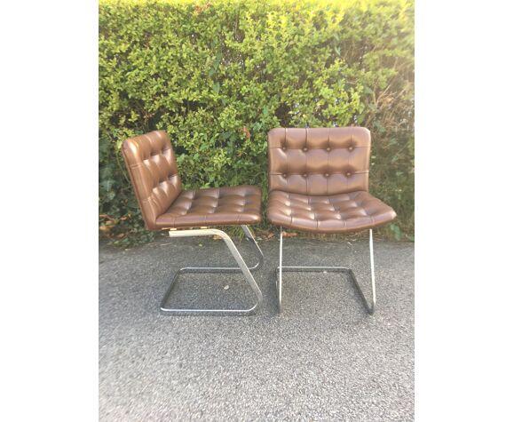 2 chaises Airborne acier et skaï marron