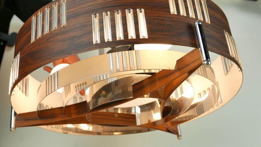 Suspension space age aluminium imitation bois, chrome et verre