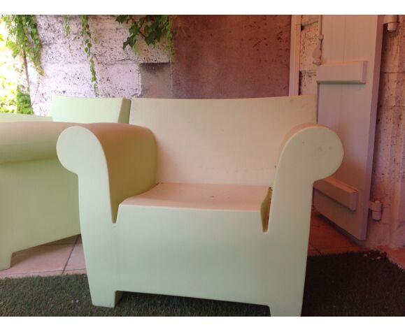 2 fauteuils club couleur anis