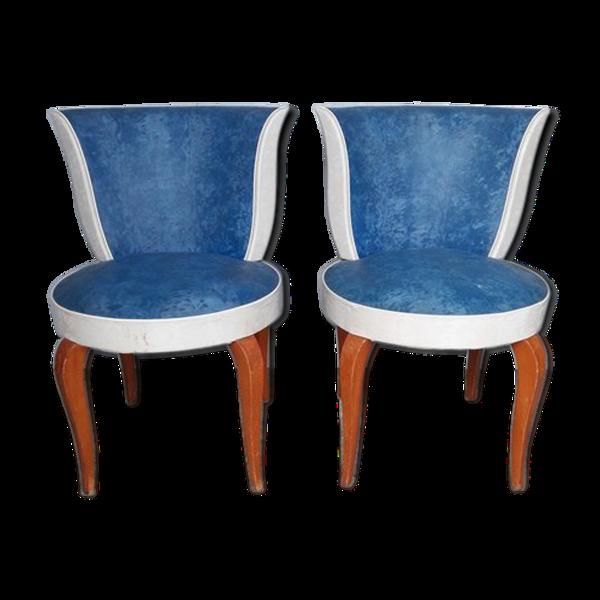 Paire de chaises de coiffeuse epoque art deco 1930