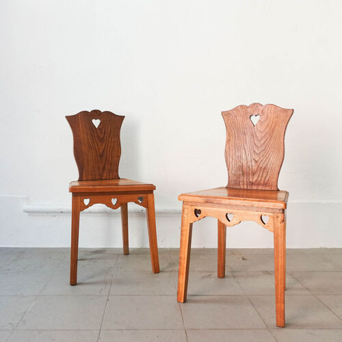 Ensemble de 5 chaises néo-rustiques portugais, années 1940