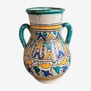 Vase turquoise en céramique du Maroc
