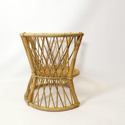 Chaise pour enfant en rotin des années 1960-1970