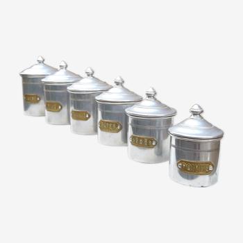 Série de 6 pots à épices encastrables vintage