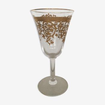 Verre cristal gravure or signé saint louis