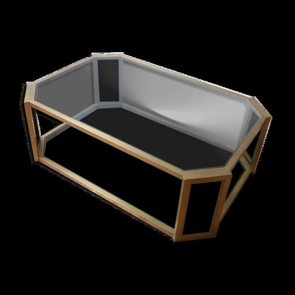 Table basse octogonale ovale en laiton du milieu du siècle