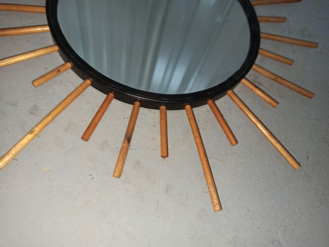 Lot 2 miroirs soleil en rotin, ronds