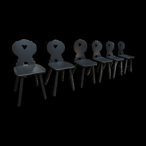 Selency Lot de 6 chaises vintages en hêtre, années 1950
