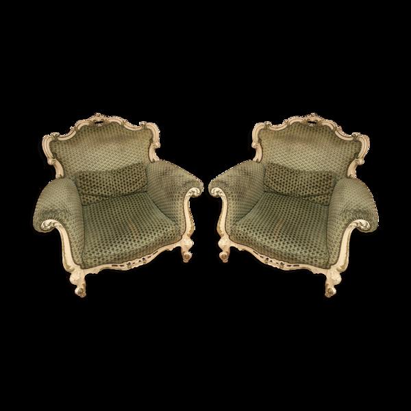 Paire de fauteuils verts amande
