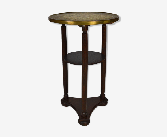 Austrian pedestal table with repelled brass tray, circa 1910