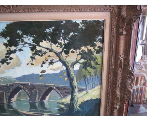 Huile sur toile peinture cadre platre