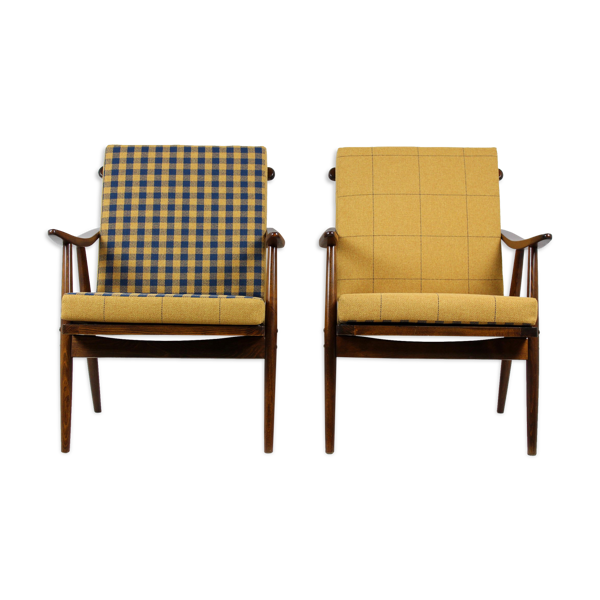 Two Wooden Boomerang Armchairs with Double-Sided Pillows from TON