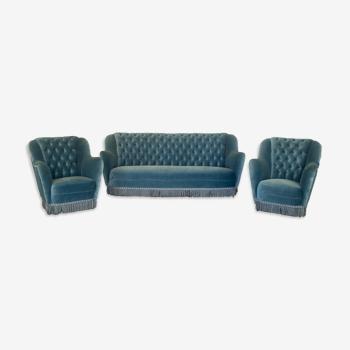 Set 3 canapé fauteuils capitonné 1950