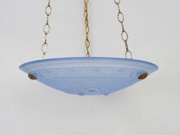Suspension vasque Art Déco 1 Feu en verre bleu. Signé Delmas. Année 30