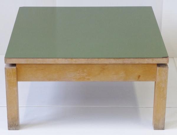 Table basse carrée formica kaki 1950 vintage rockabilly 50's coffee table #1