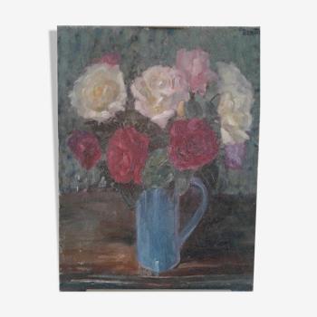Tableau ancien nature morte au bouquet de fleurs couleurs multiples. circa 50