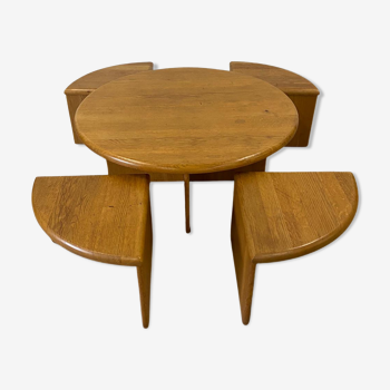 Danish Scandinavian coffee table set with nesting seats