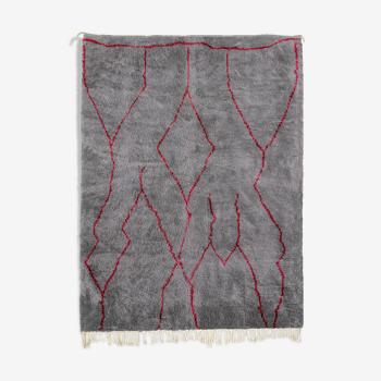 Tapis marocain moderne gris art contemporain 280x370cm