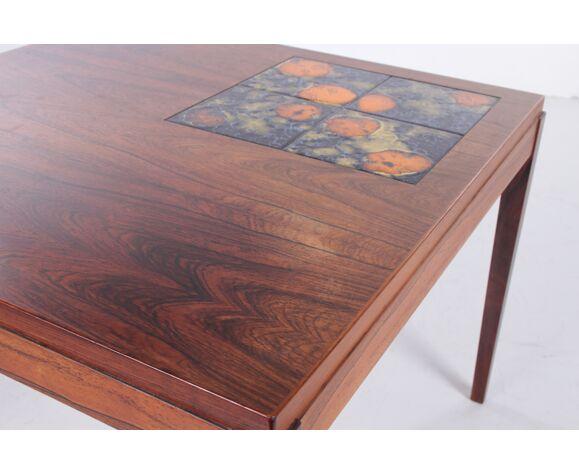 Table basse en palissandre avec de  carreaux de céramique des années 60