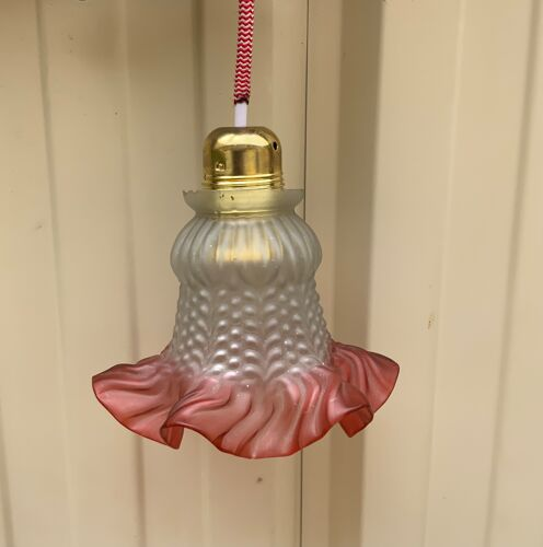 Vintage stroller lampshade in colored glass suspension old electricity new 2m