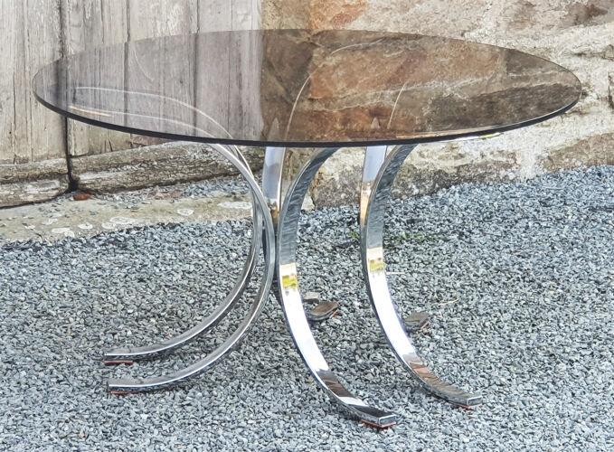 Table basse ronde verre fumé gris et acier chromé, vintage, années 60