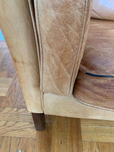 Canapé danois havane en cuir marque Stouby