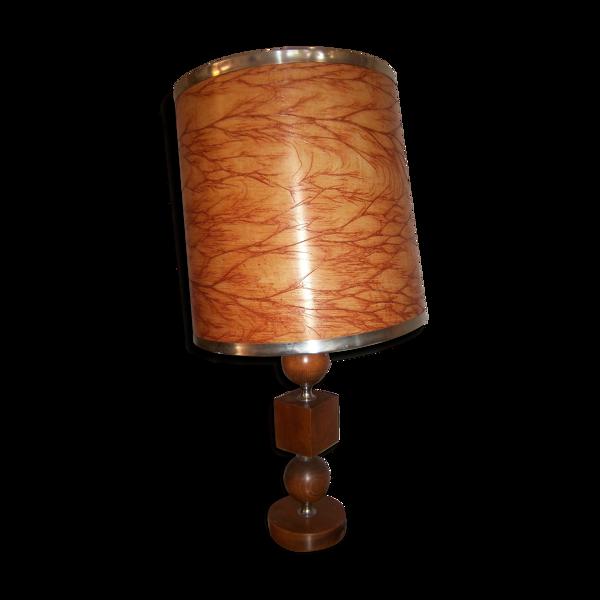 Lampe seventies en bois 1970