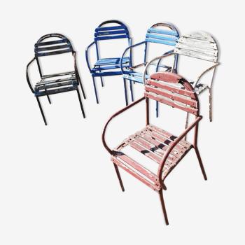 Set de 5 fauteuils de jardin à restaurer