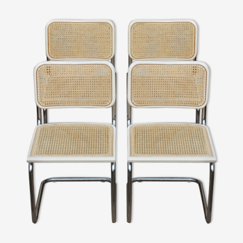 Set de 4 chaises blanches Cesca B 32 de Marcel Breuer made in Italy 1998