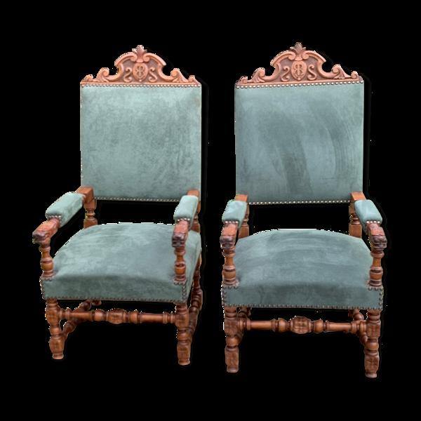Selency Paire de fauteuils Louis XIII