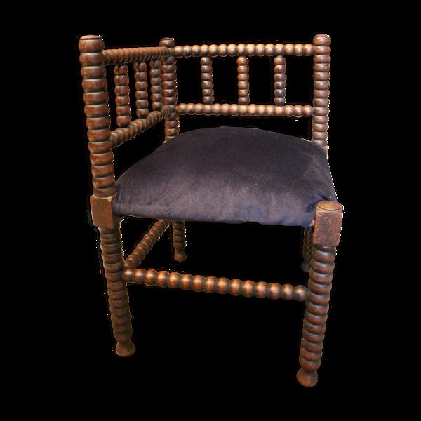 Chaise d'angle en hêtre massif à décor annelé velours bleu nuit
