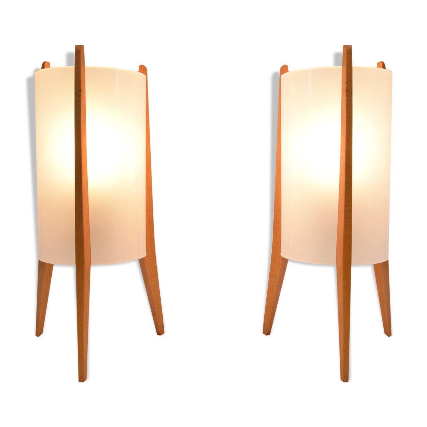 Paire de lampes de table du milieu du siècle, fusées, Pokrok Zilina, années 1970.