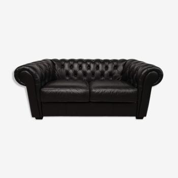 Canapé chesterfield cuir noir
