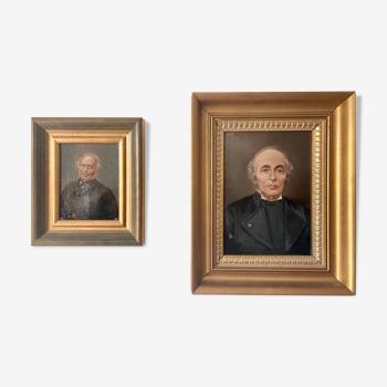 2 portraits huile, notable XIXe