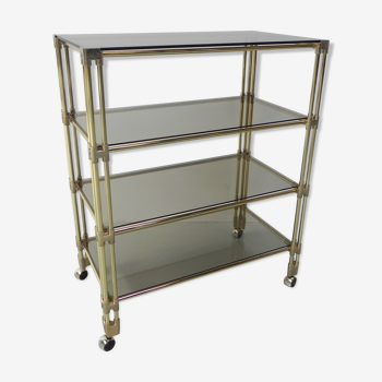 Brass shelf with four sheets of smoked glass and castors