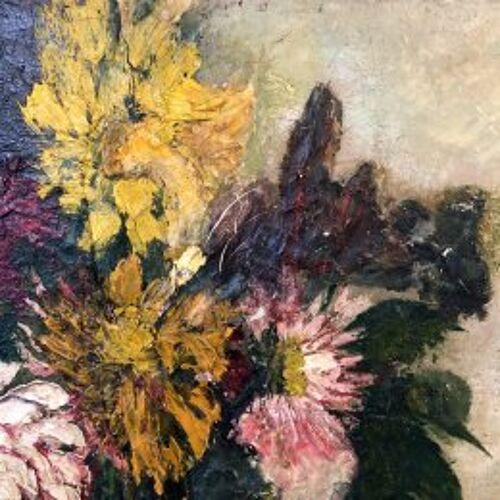 """Tableau """"Bouquet de dalhias"""""""