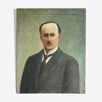 Tableau ancien portrait d'un homme à la moustache signé Louis Debiesse, circa 1930