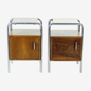 Ensemble de 2 tables de nuit, ère Bauhaus, Tchécoslovaquie années 1940