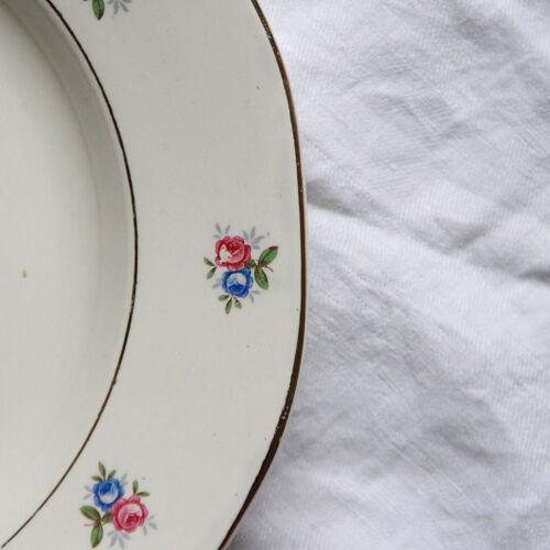 Plat de service fleurie faïence ancienne digoin et sarreguemines