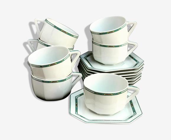 8 tasses à thé café et 8 soucoupes porcelaine Limoges Bernardaud Paul Poiret