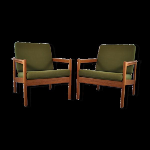 Paire de fauteuils danois de Kai Kristiansen par Magnus Olesen pour Domus Danica années 60