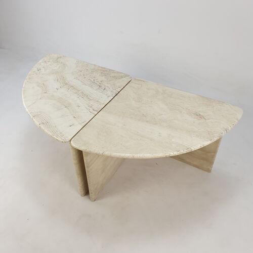 Table basse en travertin, années 1980