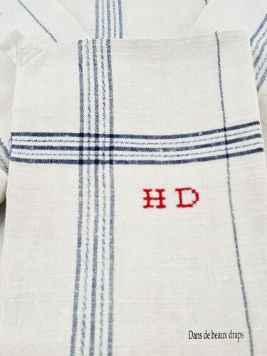 Torchon en lin liteaux bleus, monogramme HD, fin XIX ème.