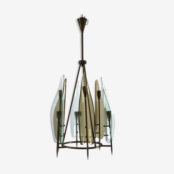 Lustre Cristal Art en laiton italien à six bras et en verre incurvé des années 50