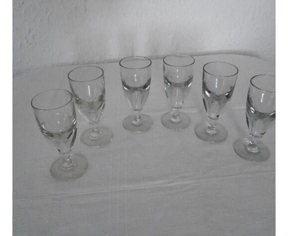 6 verres absinthe verre épais soufflé bullé