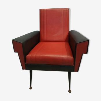 Fauteuil vintage 1950 rouge et noir en skaï
